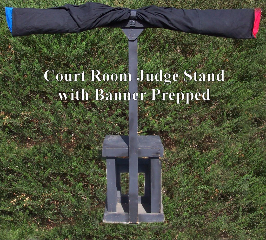 Court Room Judge Stand with Banner Prepped - Lesmiserablescostumerentals.com