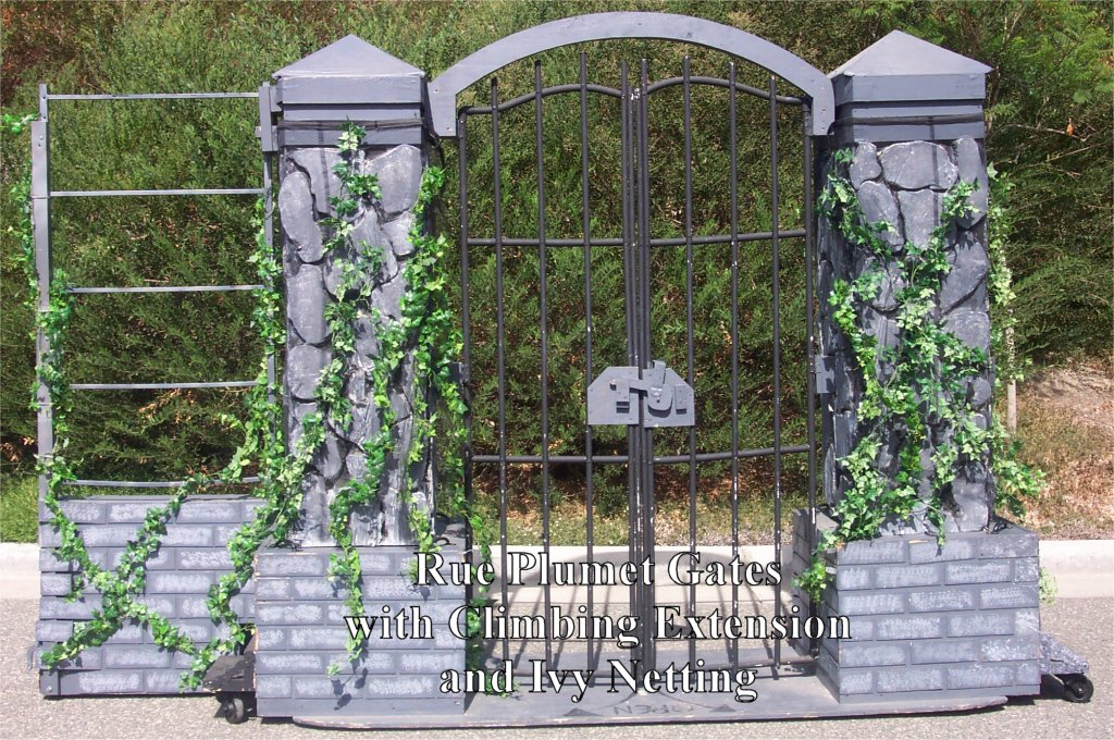Rue Plumet Gates with Climbing Extension and Ivy Netting - Lesmiserablescostumerentals.com